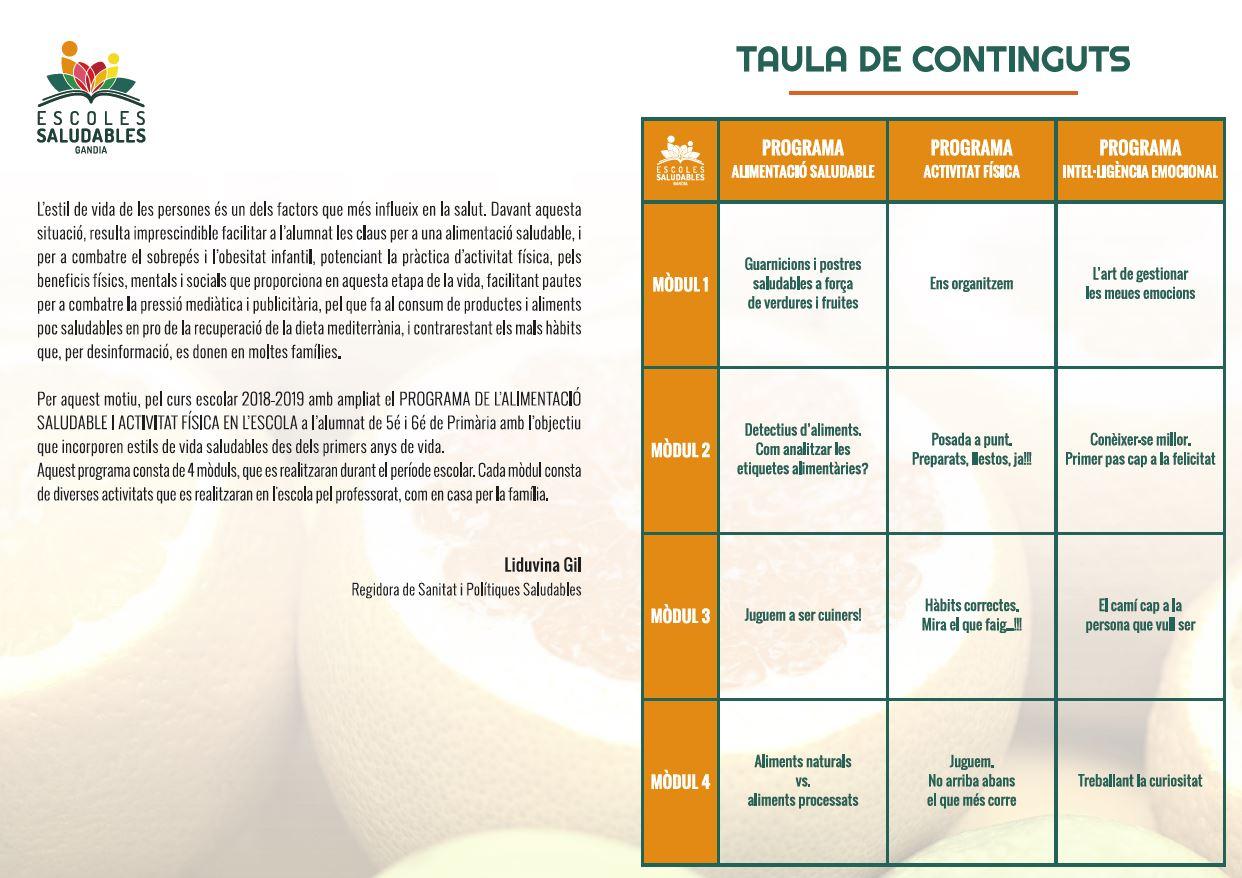 """Diptico Programa de """"L'Alimentació Saludable i L'Activitat Física a l'Escola. 5è i 6è de Primària"""
